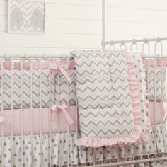 Pink and Gray Chevron Crib Comforter with Ruffle #carouseldesigns