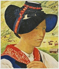 Ernest Bieler (Swiss, 1863-1948) «Girl from hauderes» 1942