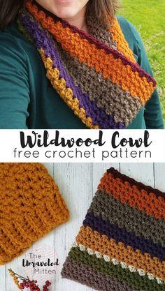 Wildwood Cowl - Free Crochet Pattern at The Unraveled Mitten Crochet Beanie, Crochet Shawl, Crochet Stitches, Free Crochet, Knit Crochet, Chunky Crochet Scarf, Crochet Scarves, Crochet Clothes, Caron Cakes Crochet