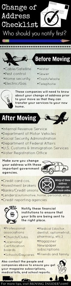 Top Places That Need Your New Mailing Address Before & After You Move. #infographic #mail #address