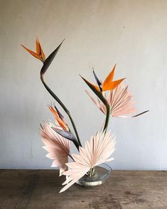 Tropical centerpiece. Tropical Flowers, Tropical Floral Arrangements, Flower Vases, Flower Art, Ikebana Flower Arrangement, Art Floral Japonais, Sogetsu Ikebana, Birds Of Paradise Flower, Japanese Flowers