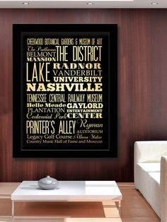 Gigantic Typography Art Poster of Nashville, Tennessee - Subway Roll Art 40X55 - Nashville's Attractions Wall Art Decoration - LHA-173. $184.95, via Etsy.