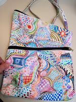 Zentangles?  Nope, just doodles. white leather bag with sharpies