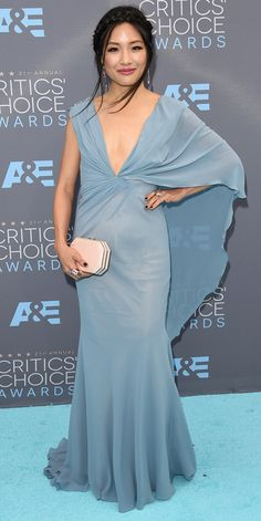 Critics' Choice Awards: Red Carpet Looks You Need to See | People - Constance Wu in a pale blue draped dress