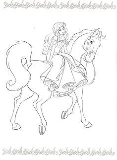 kleurplaten kleurplaat prinses paard