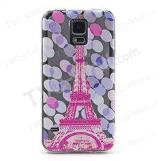 Embossment Slim TPU Phone Case for Samsung Galaxy S5 G900 - Eiffel Tower