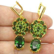 Clásico Verde Esmeralda, blanco CZ de la mujer de Compromiso Regalo 925 Pendientes de Plata de Oro 50x17mm(China (Mainland))