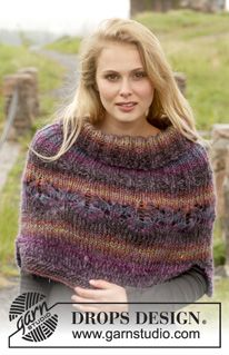 Ponchos & Shawls - Free knitting patterns and crochet patterns by DROPS Design Poncho Cape, Poncho Outfit, Poncho Shawl, Poncho Sweater, Capelet, Crochet Poncho, Knitted Poncho, Knitted Shawls, Crochet Lace