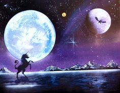 Dark unicorn spray paint art by SmokeandMetal on Etsy, $50.00