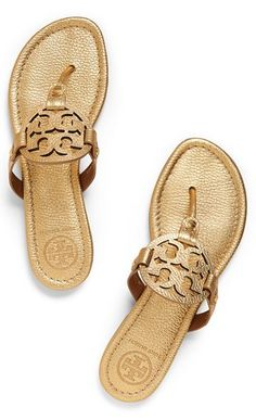 Tory Burch Miller - Tumbled Metallic Leather : Women's All Millers Metallic Gold Shoes, Metallic Leather, Gold Gold, Real Leather, Tory Burch Sandalen, Cute Shoes, Me Too Shoes, Shiny Shoes, Gold Sandals