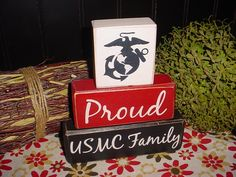Proud Navy  Army Air Force Family USMC Home Where The Air Force Sends Us Wood Sign Shelf Blocks Primitive Country Rustic. $26.95, via Etsy.