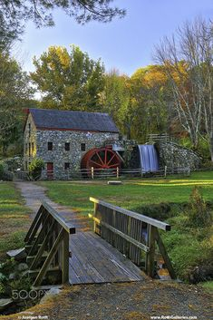 Sunrise at the Wayside Inn Grist Mill inSudbury MA - Returned to the historic Wayside Inn Grist Mill to take in the scenery during fall foliage. Autumn colors were still apparent and brilliant. This local New England landmark is located in Sudbury, Massachusetts.  Photo prints at https://juergenroth.photoshelter.com/gallery-image/Scenic-New-England/G00004ZHSvhgR8T4/I0000vNFiGjClBrA