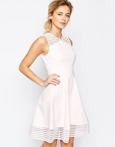 aecaf40a62577e Ted Baker Mesh Eleese Detail Skater Dress at asos.com