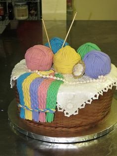 jewelry Themed Cakes | Knitting Basket with jewelry