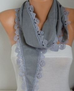 Silver Gray Pashmina Scarf Cowl Necklace Bridesmaid by fatwoman