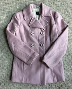 Gap Women's Pink Double Breasted Wool Blend Peacoat Muted Pink/Rose Size Small #GAP #Peacoat