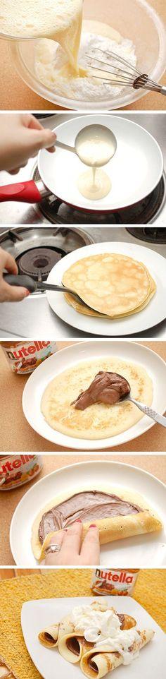 Nutella Crepes Supreme Recipes - breakfast, chocolate, food recipes, nutella, recipes