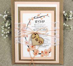 Rustic Lace Wedding Invitation Suite Peach Wedding Invitation Suite Rustic Peach Tree Invitations Vintage Wedding Invitation Set of 20