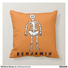 Skeleton Bones Throw Pillow Cute Halloween, Halloween Gifts, Skeleton Bones, Halloween Pillows, Kid Names, Custom Pillows, Throw Pillows, Fabric, Tejido