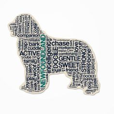 Newfoundland Dog Breed Cutout Vinyl Decal Bumper Sticker Characteristic Silhouette