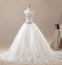 Find More Wedding Dresses Information about Strapless Lace long train swarovski crystal long trails lace detachable skirt Bridal wedding dress Gown 2014 luxury,High Quality Wedding Dresses from Sao Tome Garments Co., Ltd. on Aliexpress.com