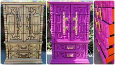 Ornate Hollywood Regency Carved 70s Dresser, chest of drawers, nightstands, bedroom set -  sold Examples Up for custom paint work by VintageRescues on Etsy https://www.etsy.com/listing/199331959/ornate-hollywood-regency-carved-70s