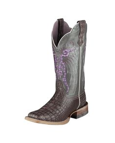 The picture doesn't do these boots justice.  Ariat Women's Mesteno Boot - Purple Metallic Gator