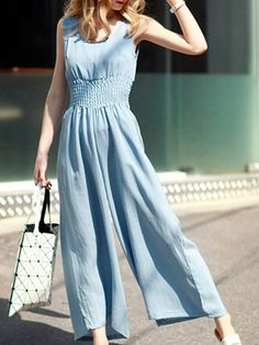 925f10303b7 Blue    Product Description  Woman s New Stylish Sleeveless Blue Loose  Jumpsuit by PesciModa Color  Light Blue