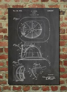 Fireman's Helmet Patent Wall Art Poster on Etsy, $6.99