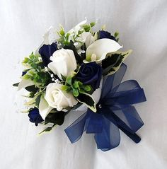 WEDDING FLOWERS BOUQUETS - BRIDESMAIDS POSY CALA LILIES NAVY BLUE ROSES