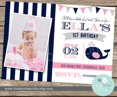 Whale INVITATION Girl Birthday Party Nautical Pink Preppy Whale  Printable First Birthday or any age on Etsy, $15.00