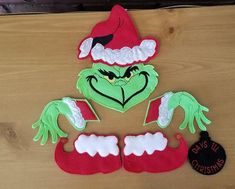 Best 12 WREATH IS NOT INCLUDED! The pieces measure anywhere from to 7 inches. Sizes are approx. The Set includes 7 pieces: Hat Face Left and right Hands Left and right feet Black Ornament Felties have many uses: Wreath Making Book bands Book marks Grinch Christmas Decorations, Grinch Ornaments, Grinch Christmas Party, Green Christmas, Grinch Party, Christmas Themes, Christmas Crafts, Christmas Ornaments, Grinch Stealing Lights