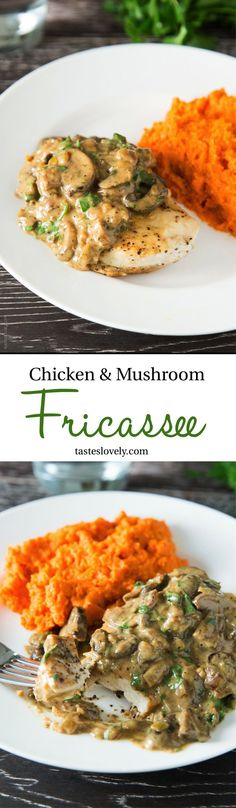 Chicken and Mushroom Fricassee - a one pan dinner of tender chicken topped with a savory mushroom and sour cream sauce.
