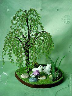 Купить Дерево счастья из бисера Ля му-у-у-р - зеленый, фарфоровая свадьба, фарфор, Кошки