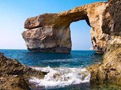 Azure Window: Gozo, Malta - A beautiful accident of geology frames the deep blues of sea and sky on the coast of Gozo