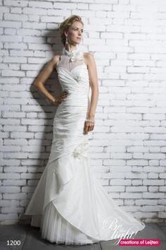 Trouwjurk Creations of Leijten 1200 2-delige taft jurk met halterlijn in vintagelook