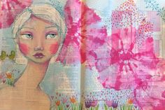 New piece in my art journal....been working on her while I am battling a sinus infection