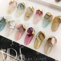 MDANail stone gel nail art parts metal @ Bonnail X mda Aura Quartz French Nails, Asia Nails, Nail Tech School, Asian Nail Art, Nail Picking, Couture Nails, Cute Toe Nails, Japanese Nail Art, Luxury Nails