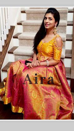 Long Gown Dress, Sari Dress, Frock Dress, Anarkali Dress, Half Saree Designs, Fancy Blouse Designs, Indian Long Frocks, Salwar Suit Neck Designs, Frock Models