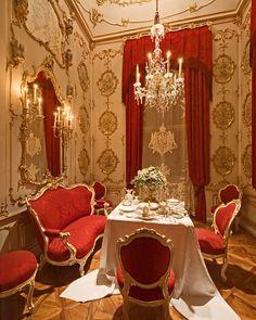 """romantisme1812: """" The """"Breakfast Room"""" in Schönbrunn Palace, Vienna, Austria. """""""