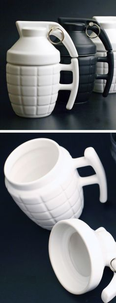Grenade mugs It can sit next to my mug with brass knuckles. @Christine Patricia get me the black one!