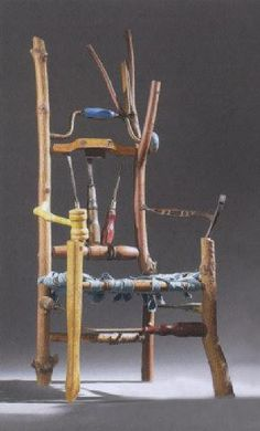 Restructured destructured folk art wooden chair using vintage old tools and other furniture parts Unusual Furniture, Funky Furniture, Furniture Design, Painted Furniture, Funky Chairs, Old Chairs, Wooden Chairs, Rocking Chairs, Most Comfortable Office Chair