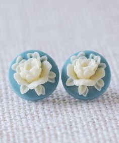 Dusty Blue and Ivory Flower Post Earrings. Vintage