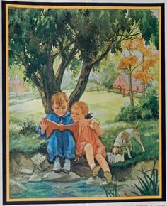 Miriam Story Hurford  30 s print art  boy  girl and dog under a tree having picnic  Cover Art