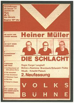 """""""Die Schlacht"""" (by Heiner Müller, dir. Manfred Karge  Matthias Langhoff), Theaterplakat Volksbühne Berlin, 1975, design by Bernd Frank"""
