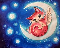 Angel Kitty on the Moon - Nico Niemi (@artbynico) and like OMG! get some yourself some pawtastic adorable cat shirts, cat socks, and other cat apparel by tapping the pin!