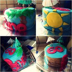 Gâteau surprise pour un 60ème anniversaire. Base gâteau au cacao et nappage choco-caramel, un régal !