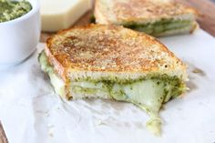 Parmesan Crusted Pesto Grilled Cheese Sandwich Recipe Lunch and Snacks with bread ciabatta, butter, mozzarella cheese, pesto, parmesan cheese