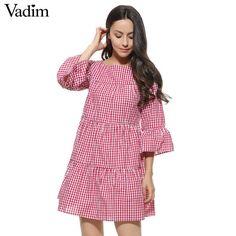 Mulheres de grandes dimensões xadrez plissada vestido de verão elegante xadrez m #SHEIN #Casual