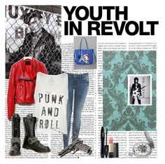 """youth in revolt"" by mzabsinthe ❤ liked on Polyvore featuring Tokidoki, Miss Selfridge, Volcom, Demonia, Club Manhattan, Hedi Slimane, Damsel in a Dress, Lancôme and Charles Hubert"